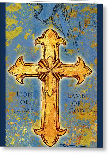 Religious Mixed Media Greeting Cards - The Cross Lion and Lamb  Greeting Card by William Depaula