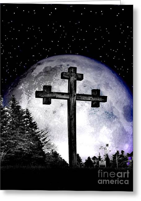 Wicked Kitty Greeting Cards - The Cross Greeting Card by Nina Ficur Feenan