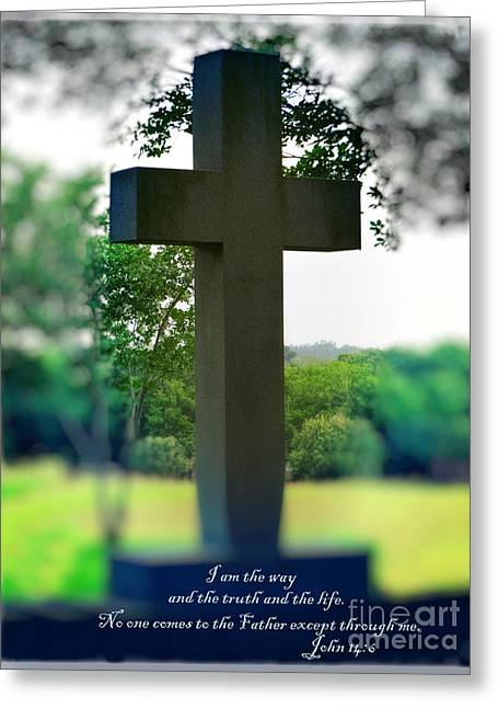 Way Of The Cross Digital Greeting Cards - The Cross of Jesus - I Am The Way Greeting Card by Ella Kaye Dickey