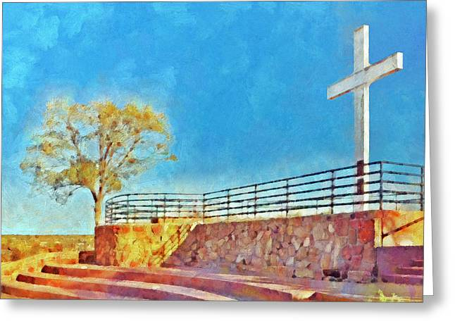 New Martyr Digital Greeting Cards - The Cross of the Martyrs  Sante Fe  New Mexico  Greeting Card by Digital Photographic Arts