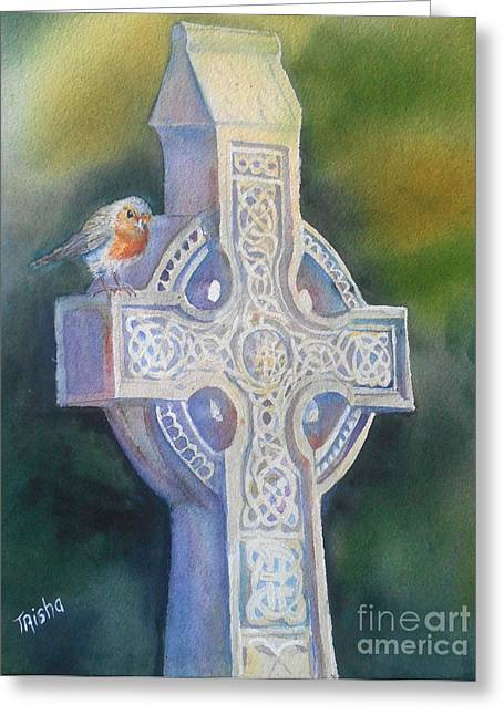 Celtic Paintings Greeting Cards - The Cross at Maynooth Greeting Card by Patricia Pushaw
