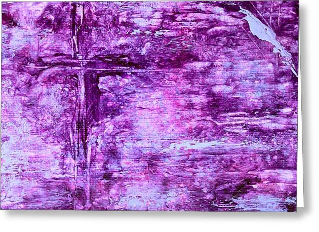 Blue Grapes Mixed Media Greeting Cards - The Cross Greeting Card by Toni Yasger