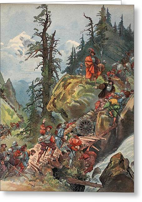French Renaissance Greeting Cards - The Crossing Of The Alps, Illustration Greeting Card by Albert Robida