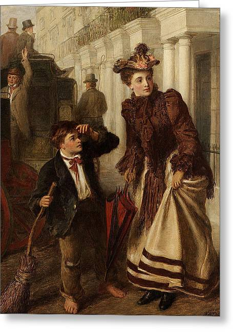 Frith Greeting Cards - The Crossing Sweep Greeting Card by William Powell Frith