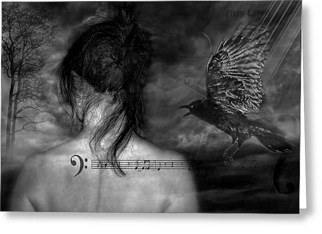 Crow. Bird Music Greeting Cards - The Crow Greeting Card by Joachim G Pinkawa