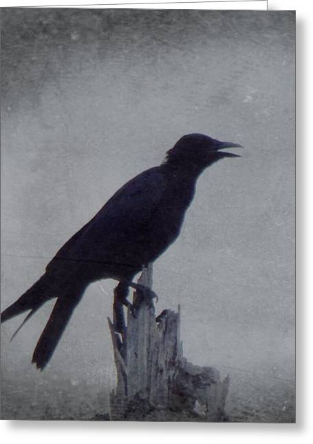 Scary Greeting Cards - The Crow Greeting Card by Justin Ivins