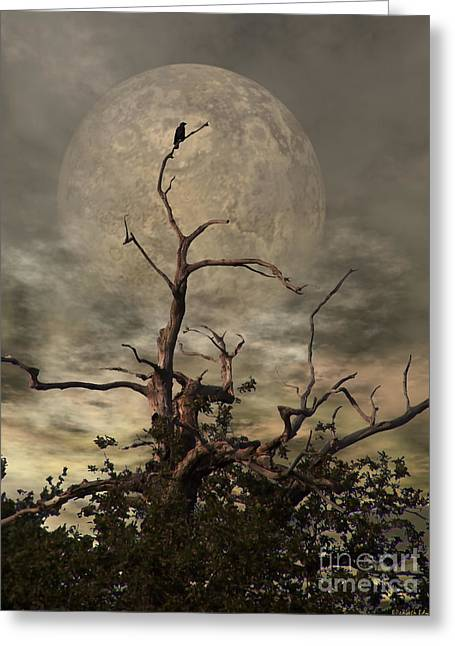 Birds Moon Greeting Cards - The Crow Tree Greeting Card by Isabella Abbie Shores