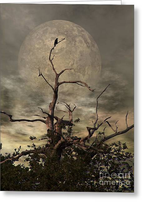Night Sky Greeting Cards - The Crow Tree Greeting Card by Isabella Abbie Shores