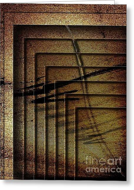 Beige Abstract Greeting Cards - The Crowd Greeting Card by Fei A