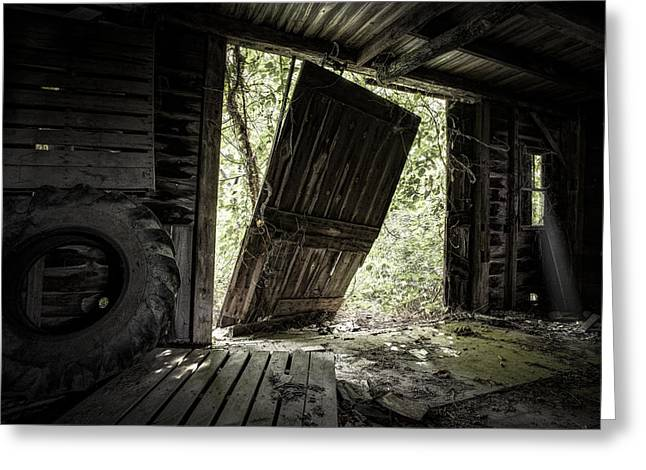 Haus Photographs Greeting Cards - The Crowd Gathers Outside - Abandoned Apple Barn Greeting Card by Gary Heller
