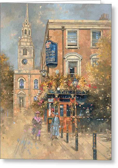Public House Greeting Cards - The Crown Tavern - Clerkenwell Oil On Canvas Greeting Card by Peter Miller