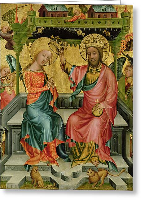 Recently Sold -  - Lions Greeting Cards - The Crowning Of The Virgin, From The Right Wing Of The Buxtehude Altar, 1400-10 Tempera On Panel Greeting Card by Master Bertram of Minden