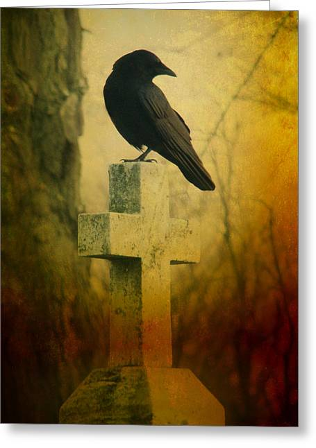 American Crow Greeting Cards - The Crows Cross Greeting Card by Gothicolors Donna Snyder