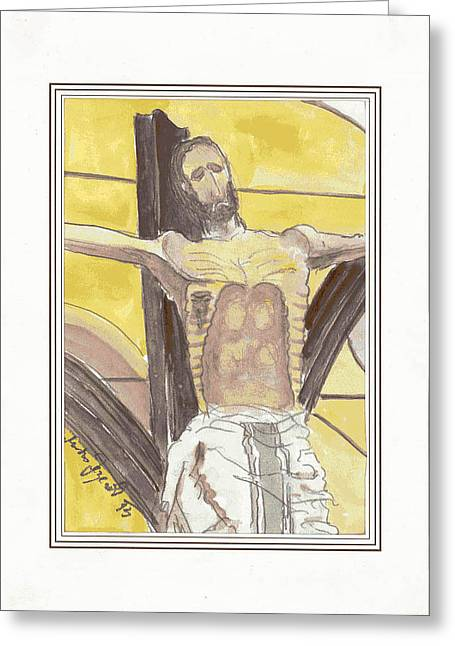 St Piran Greeting Cards - The Crucified from Piran Greeting Card by Marko Jezernik