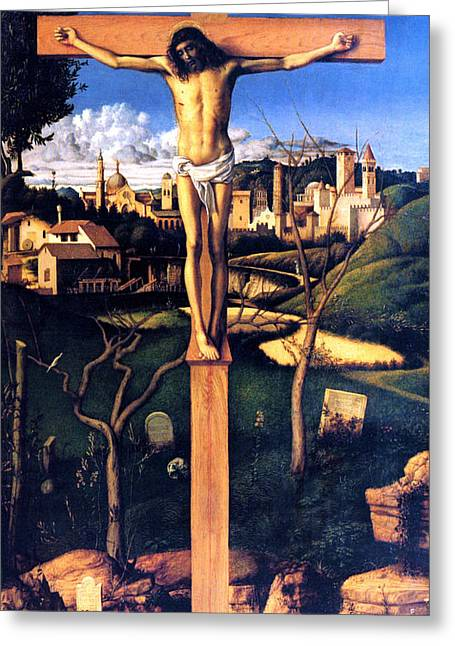 Religious Paintings Greeting Cards - The Crucifixion 1503 Giovanni Bellini Greeting Card by Karon Melillo DeVega