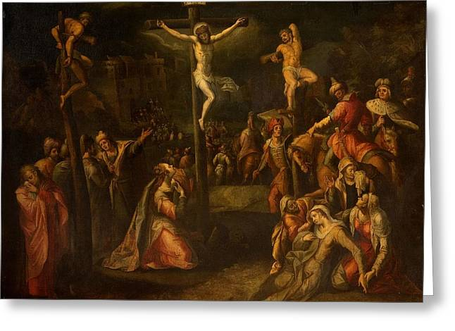 Crucifixion Greeting Cards - The Crucifixion, 1550?-1700 Greeting Card by Flemish School