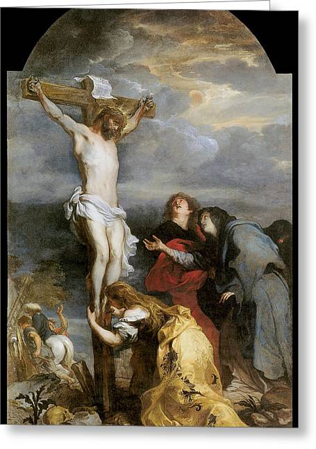 Calvary Greeting Cards - The Crucifixion Greeting Card by Anthony Van Dyke