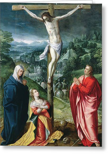 Crucifix Greeting Cards - The Crucifixion Greeting Card by Flemish School
