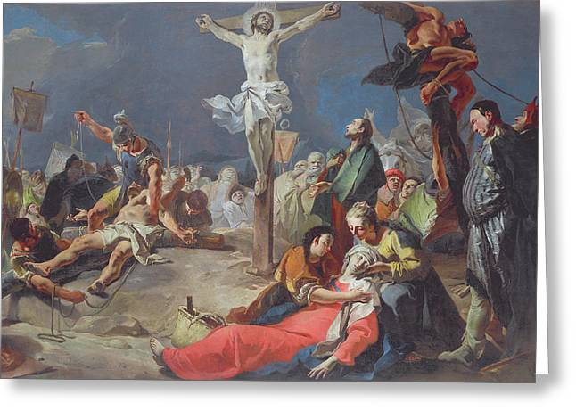 Giovanni Battista Tiepolo Greeting Cards - The Crucifixion Greeting Card by Giovanni Battista Tiepolo