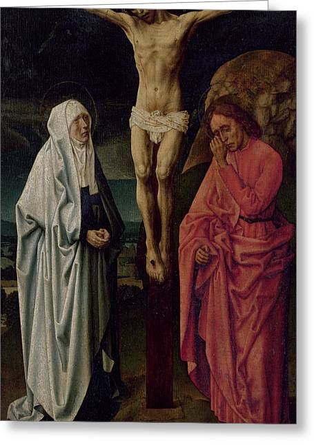 Crucifixion Greeting Cards - The Crucifixion Greeting Card by Hugo van der Goes