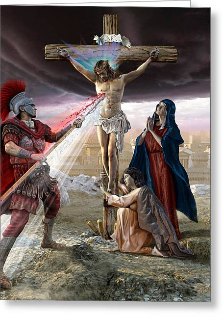 Mother Mary Digital Art Greeting Cards - The Crucifixion Greeting Card by Kurt Miller