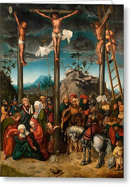 Calvary Greeting Cards - The Crucifixion Greeting Card by Lucas Cranach the Elder