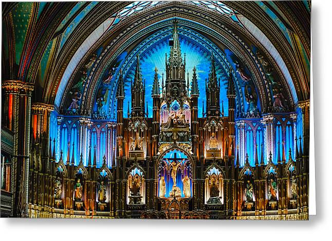 Qc Greeting Cards - The Crucifixion Notre Dame Bascilica Montreal Quebec Greeting Card by Craig Roberts