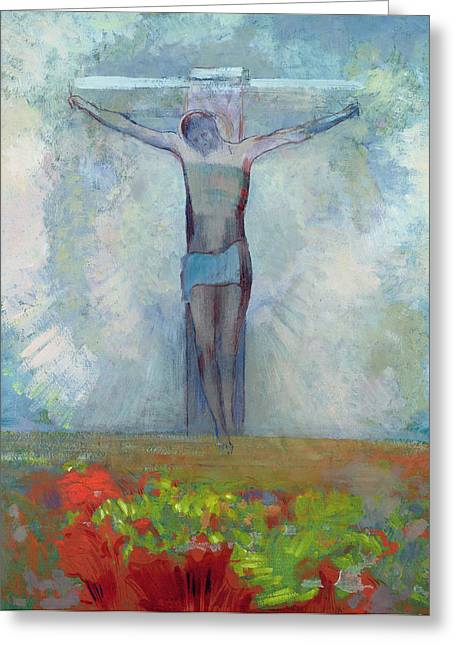 The Flower Of Life Greeting Cards - The Crucifixion Greeting Card by Odilon Redon