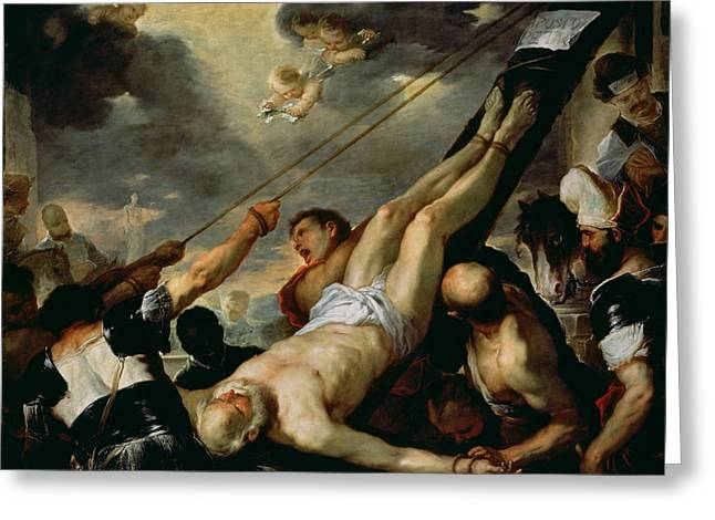 Roman Soldier Greeting Cards - The Crucifixion Of Saint Peter, C.1660 Oil On Canvas Greeting Card by Luca Giordano
