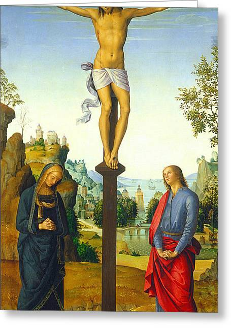 Gospel Greeting Cards - The Crucifixion with the Virgin Saint John Saint Jerome and Saint Mary Magdalene Greeting Card by Pietro Perugino