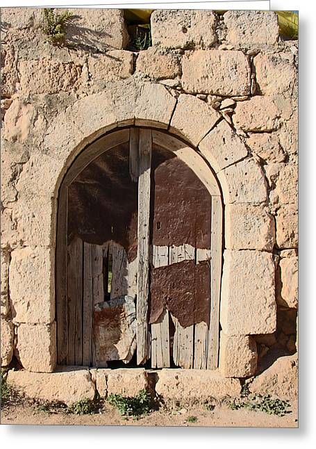 Hebron Greeting Cards - The Crying Door Greeting Card by Munir Alawi