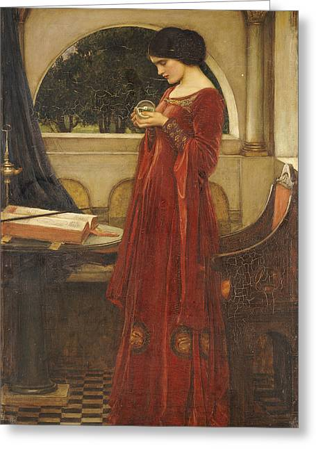 Pre-raphaelites Photographs Greeting Cards - The Crystal Ball, 1902 Oil On Canvas Greeting Card by John William Waterhouse