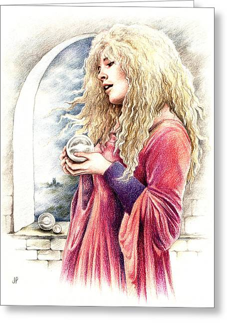 Stevie Nicks Greeting Cards - The Crystal Ball Greeting Card by Johanna Pieterman