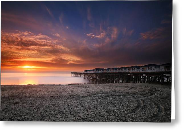 California Ocean Photography Greeting Cards - The Crystal Pier Greeting Card by Larry Marshall