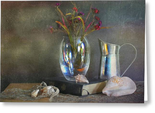 Still Life With Pitcher Greeting Cards - The Crystal Vase Greeting Card by Diana Angstadt