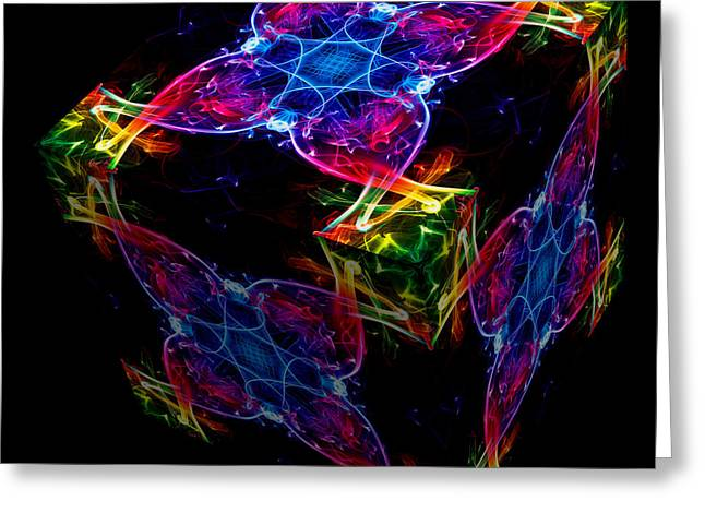 Smoking Trail Greeting Cards - The Cube 4 Greeting Card by Steve Purnell