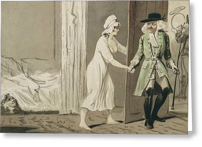 Hiding Greeting Cards - The Cuckold Departs For The Hunt, C.1800 Pen & Ink With Wc On Paper Greeting Card by Isaac Cruikshank