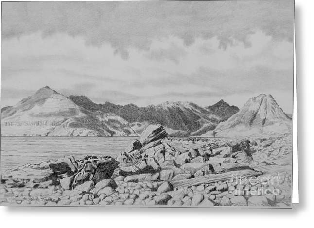 Rocks Drawings Greeting Cards - The Cuillins From Elgol on the Isle of Skye Greeting Card by Elaine Jones