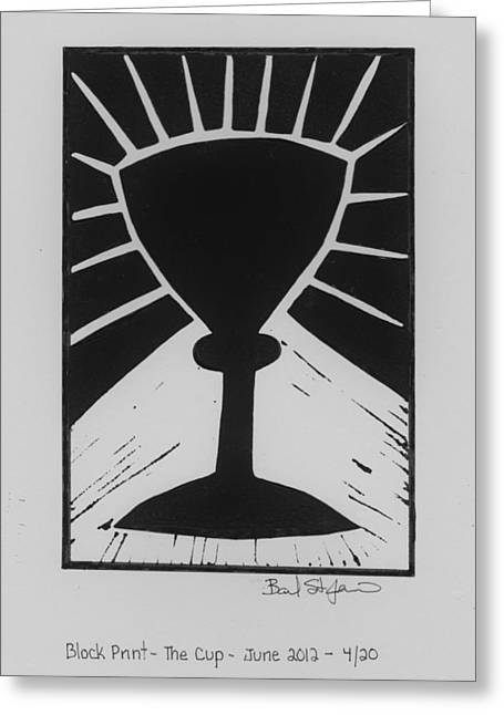 Block Print Art Mixed Media Greeting Cards - The Cup Greeting Card by Barbara St Jean