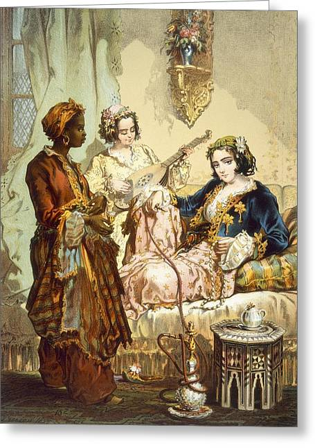 Coffee Drinking Greeting Cards - The Cup Of Coffee Two Women Taking Greeting Card by Amadeo Preziosi