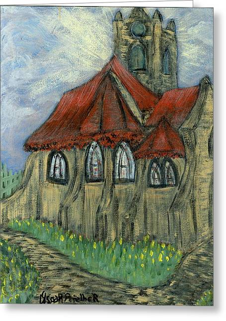 Prague Paintings Greeting Cards - The Curch  Greeting Card by Oscar Penalber
