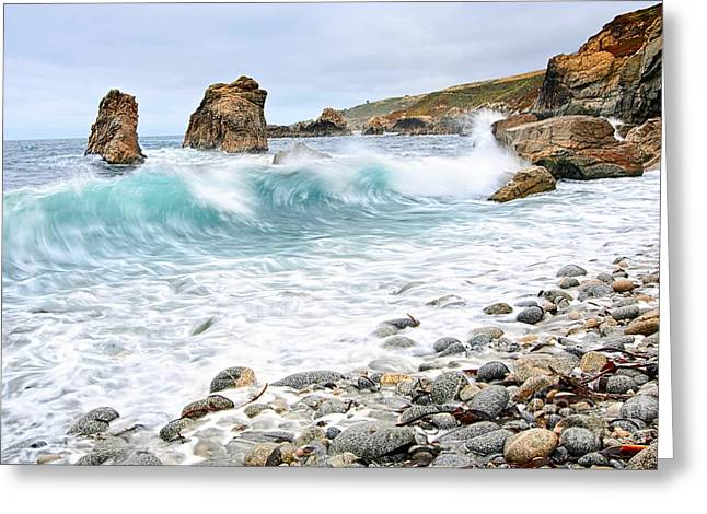 Big Sur Greeting Cards - The Curl - Crashing waves from Soberanes Point in Garrapata State Park Greeting Card by Jamie Pham