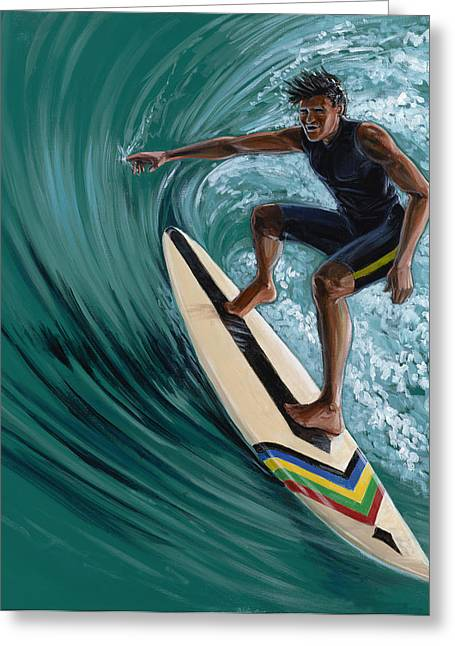 Huntington Beach Greeting Cards - The Curl Greeting Card by MJ Greene