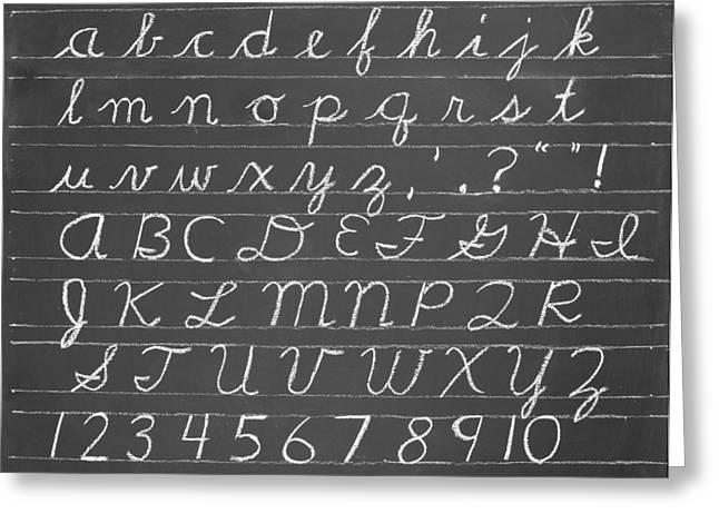 The Cursive Alphabet Greeting Card by Chevy Fleet