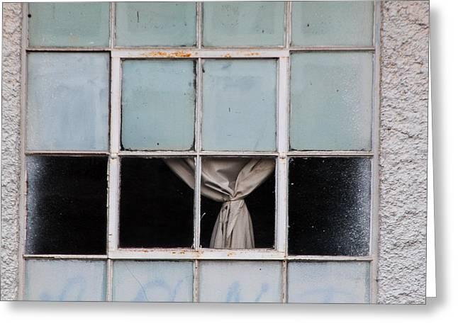Abandoned Building Greeting Cards - The Curtain 2 Greeting Card by Constance Fein Harding