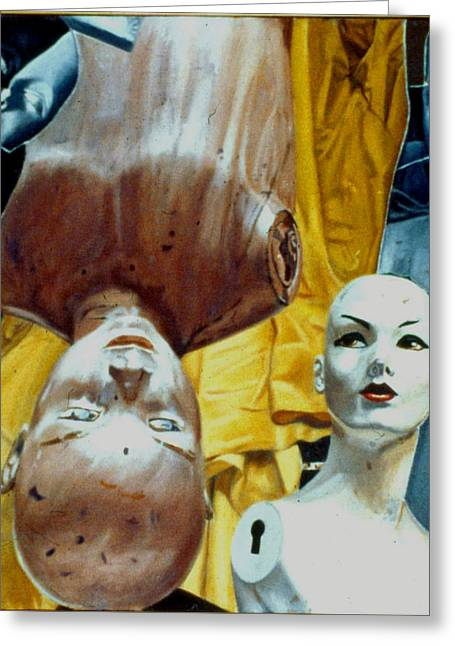 Masochism Paintings Greeting Cards - The Curtain Greeting Card by Dan Ault