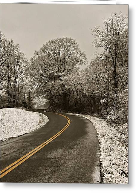 Landscape Posters Greeting Cards - The Curved Road Greeting Card by Chris Flees