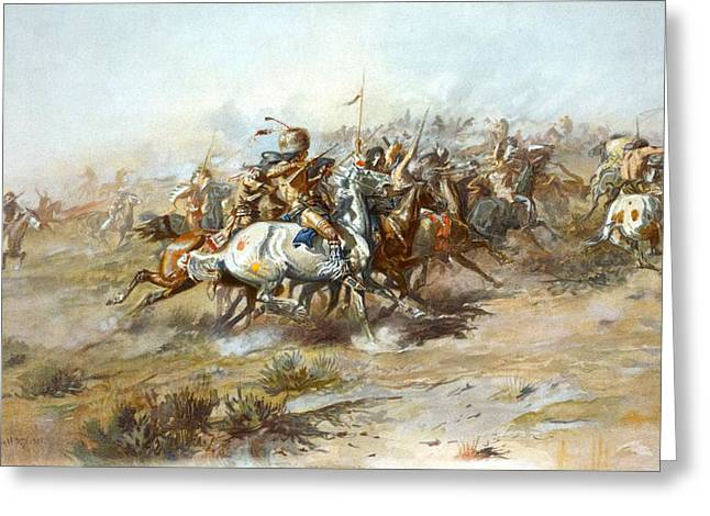 Western Western Art Greeting Cards - The Custer Fight Greeting Card by Charles Russell