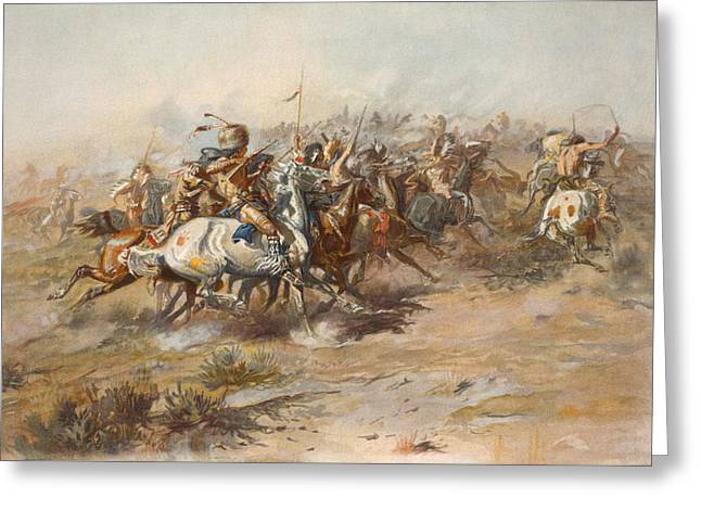 Last Stand Greeting Cards - The Custer Fight  Greeting Card by War Is Hell Store