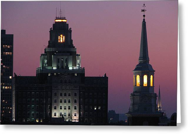 Phillies Framed Prints Greeting Cards - The Customs Building and Christ Church Greeting Card by Christopher Woods